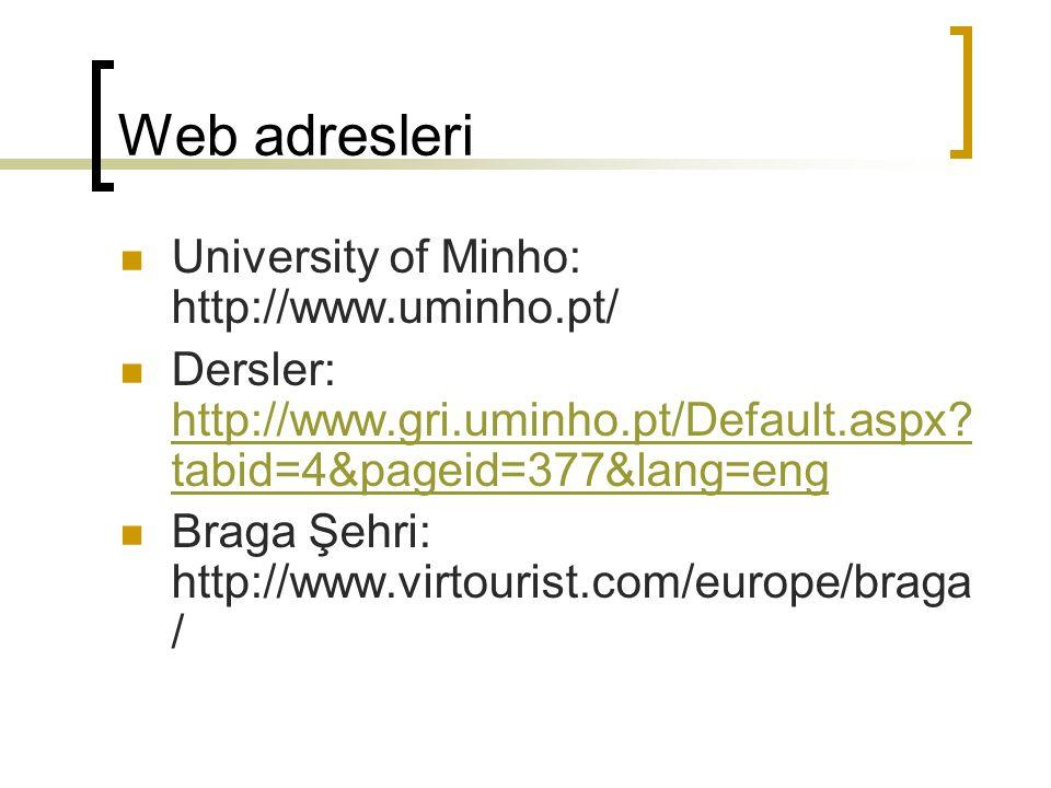 Web adresleri University of Minho: http://www.uminho.pt/