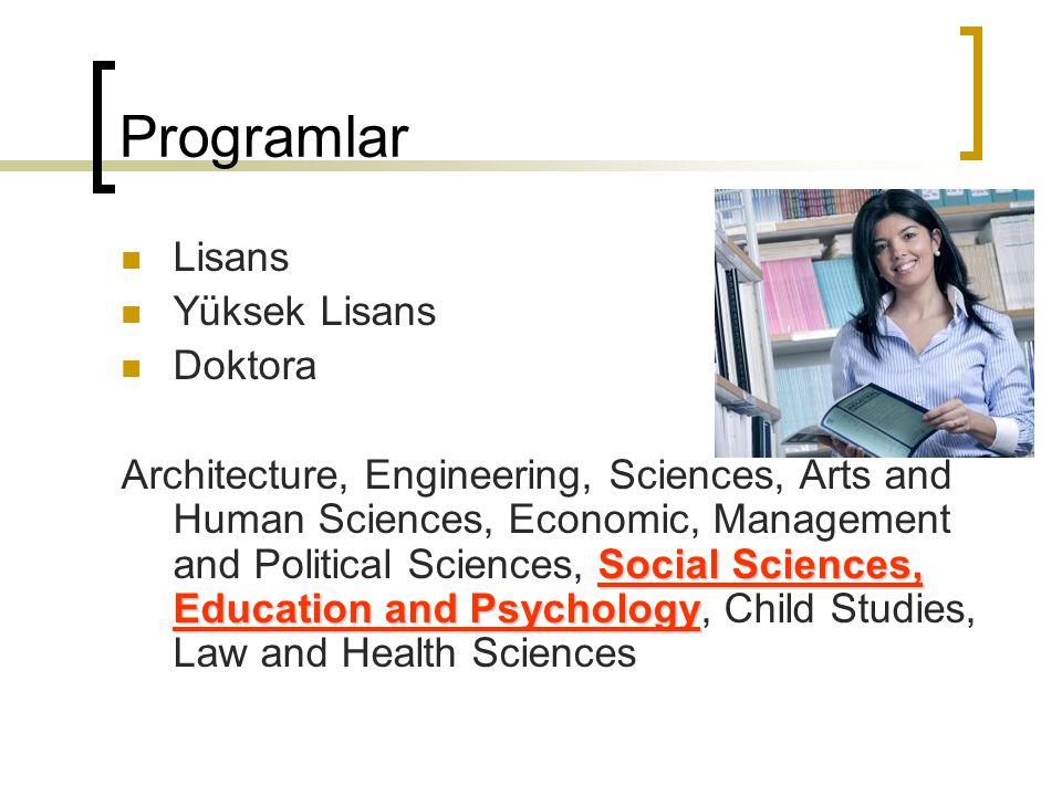 Programlar Lisans Yüksek Lisans Doktora