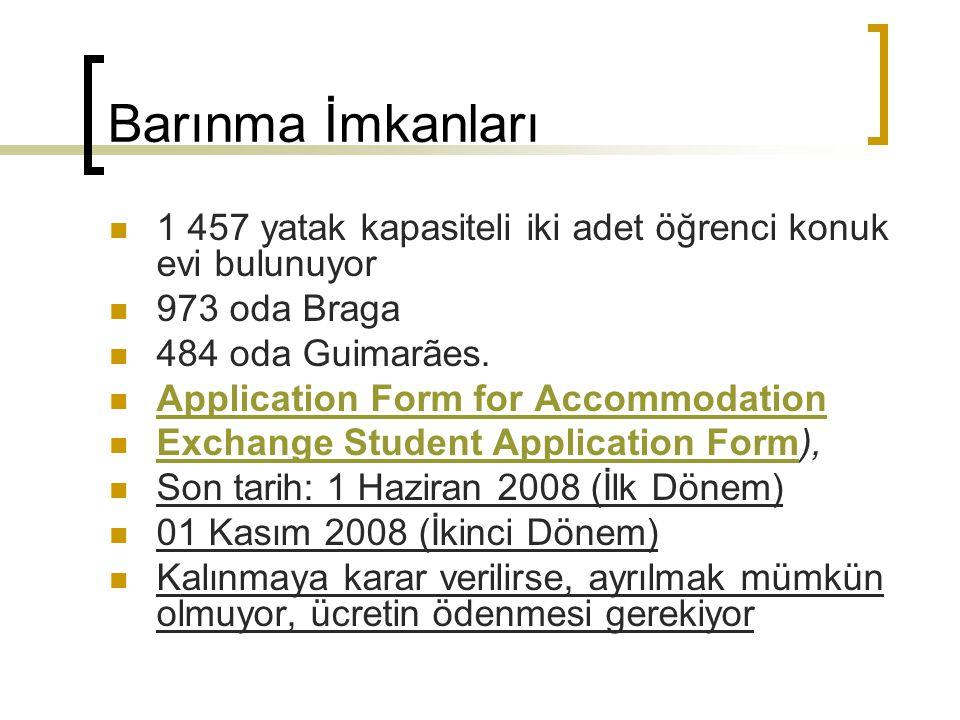 Barınma İmkanları 1 457 yatak kapasiteli iki adet öğrenci konuk evi bulunuyor. 973 oda Braga. 484 oda Guimarães.