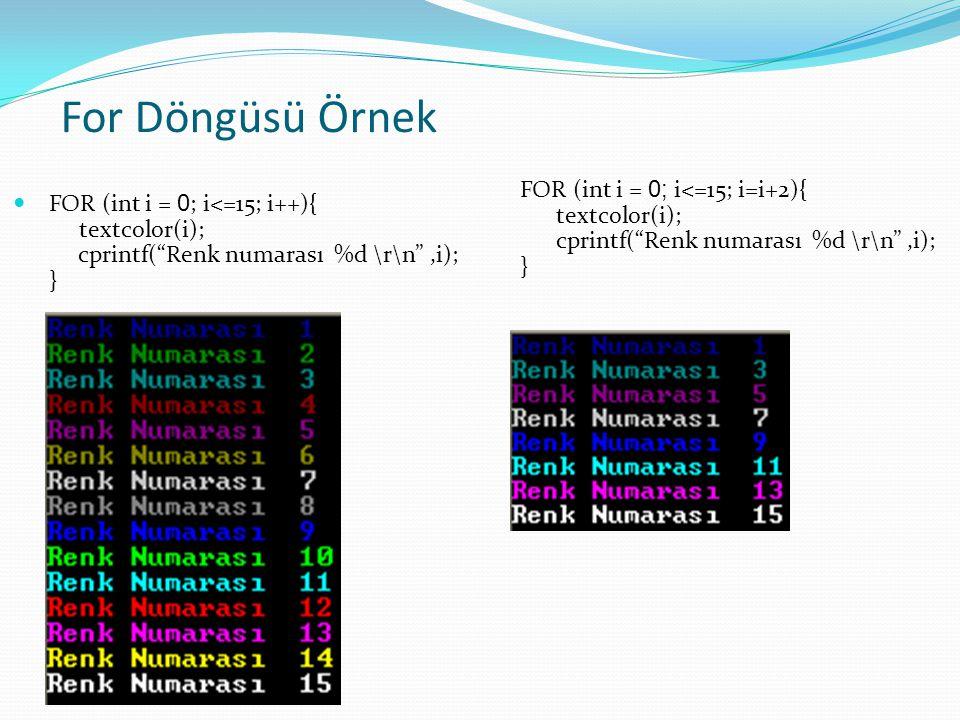 For Döngüsü Örnek FOR (int i = 0; i<=15; i=i+2){ textcolor(i); cprintf( Renk numarası %d \r\n ,i);