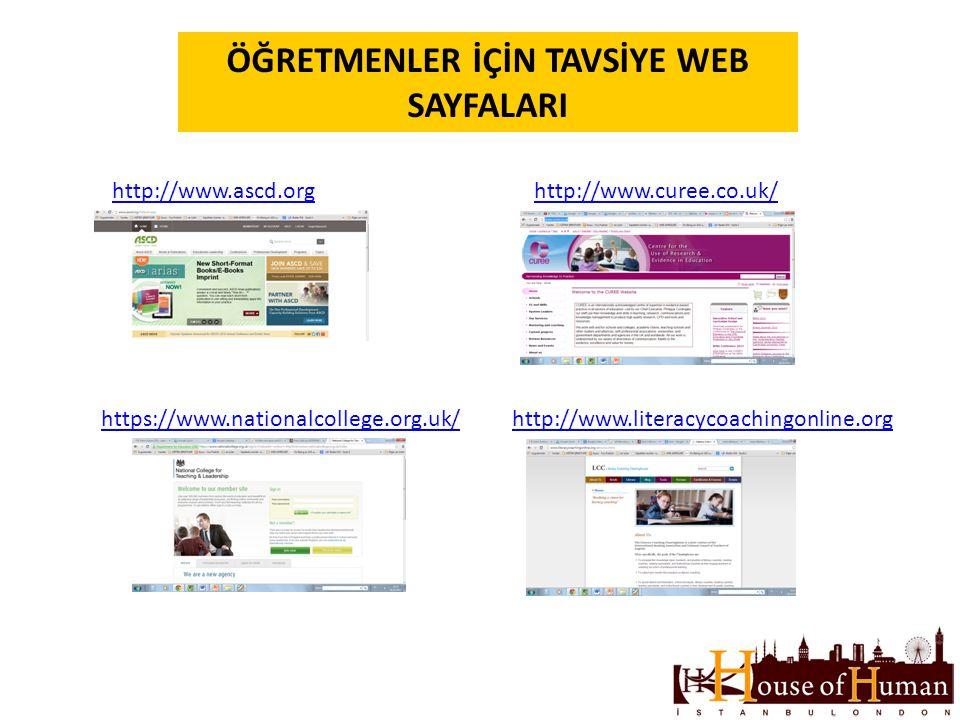 ÖĞRETMENLER İÇİN TAVSİYE WEB SAYFALARI