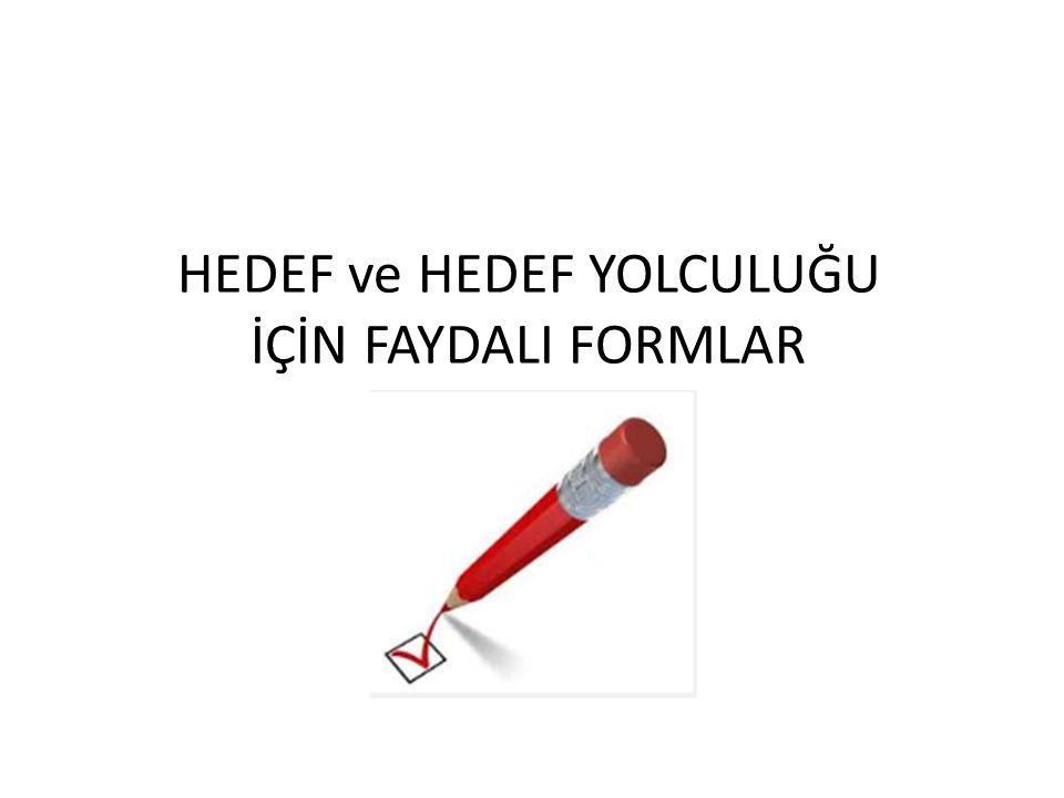 HEDEF ve HEDEF YOLCULUĞU İÇİN FAYDALI FORMLAR