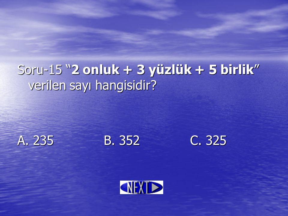 Soru-15 2 onluk + 3 yüzlük + 5 birlik verilen sayı hangisidir