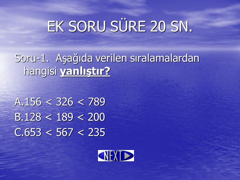 EK SORU SÜRE 20 SN. Soru-1. Aşağıda verilen sıralamalardan hangisi yanlıştır A.156 < 326 < 789. B.128 < 189 < 200.