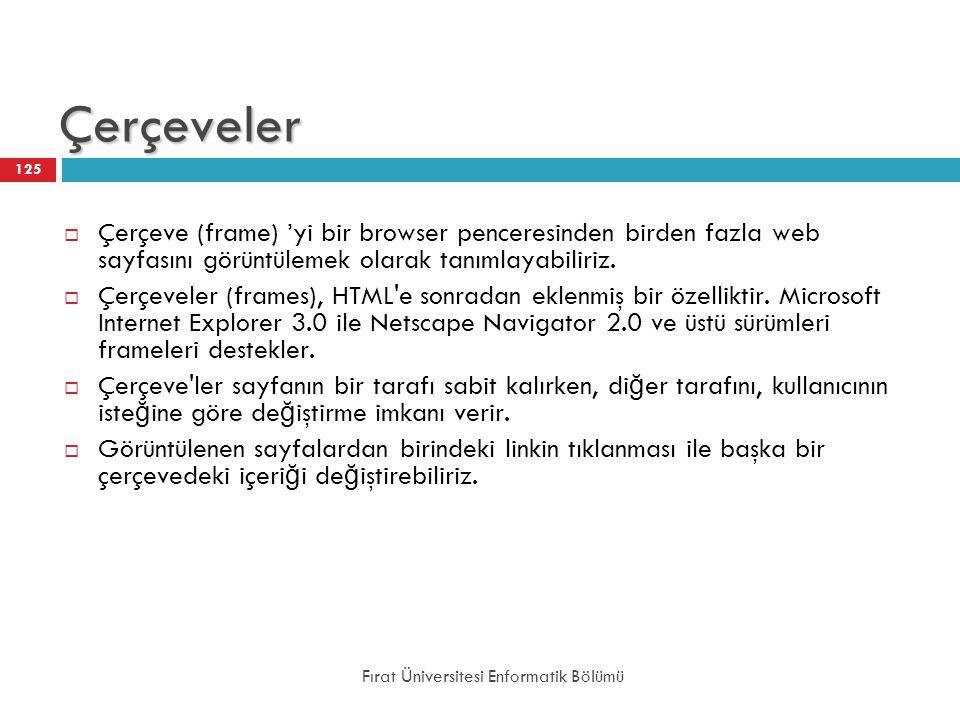 Çerçeveler Çerçeve (frame) 'yi bir browser penceresinden birden fazla web sayfasını görüntülemek olarak tanımlayabiliriz.