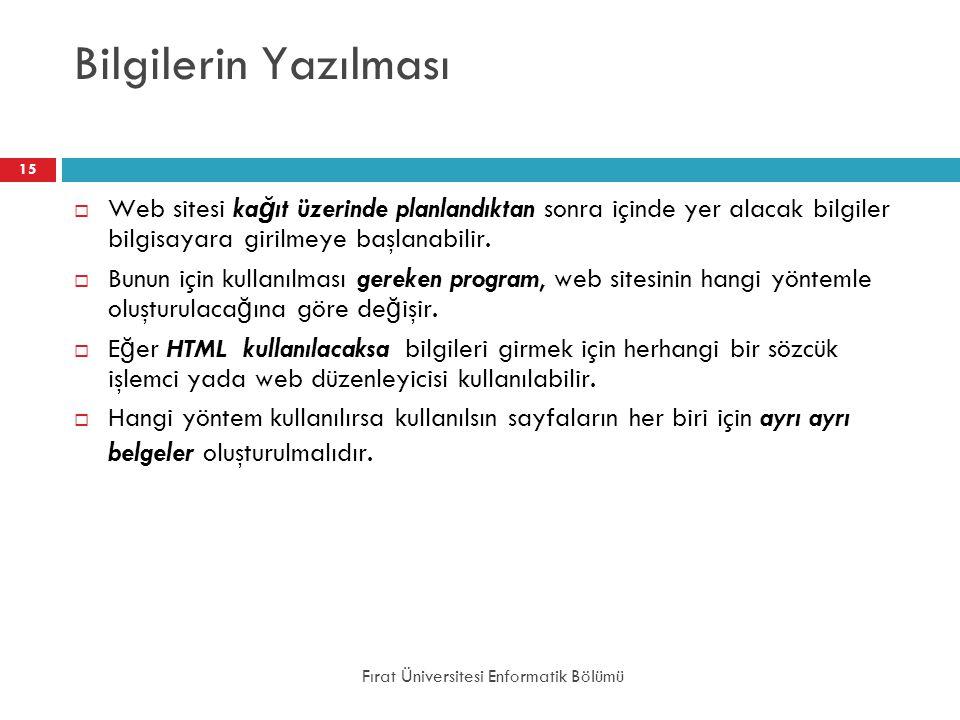 Bilgilerin Yazılması Web sitesi kağıt üzerinde planlandıktan sonra içinde yer alacak bilgiler bilgisayara girilmeye başlanabilir.