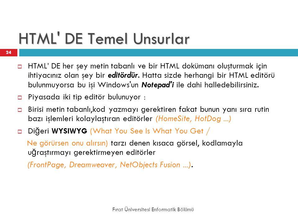 HTML DE Temel Unsurlar