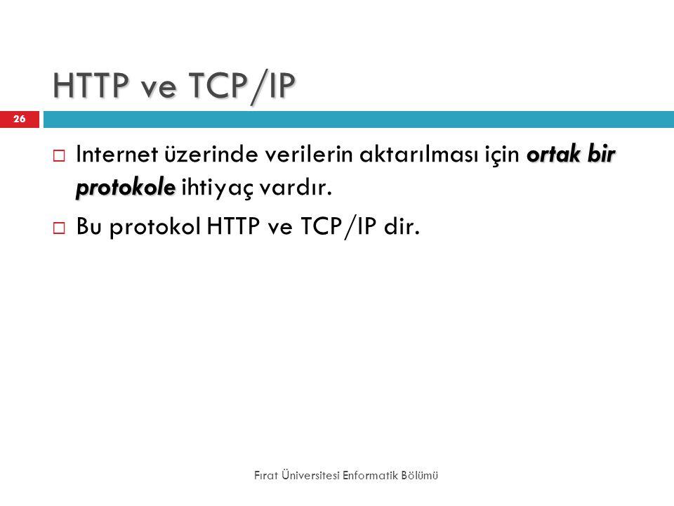 HTTP ve TCP/IP Internet üzerinde verilerin aktarılması için ortak bir protokole ihtiyaç vardır. Bu protokol HTTP ve TCP/IP dir.