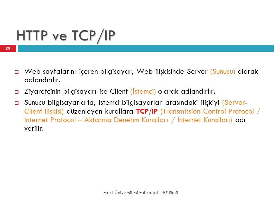 HTTP ve TCP/IP Web sayfalarını içeren bilgisayar, Web ilişkisinde Server (Sunucu) olarak adlandırılır.