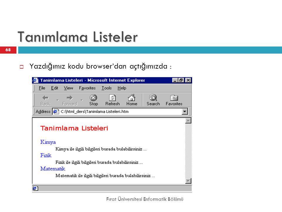 Tanımlama Listeler Yazdığımız kodu browser'dan açtığımızda :