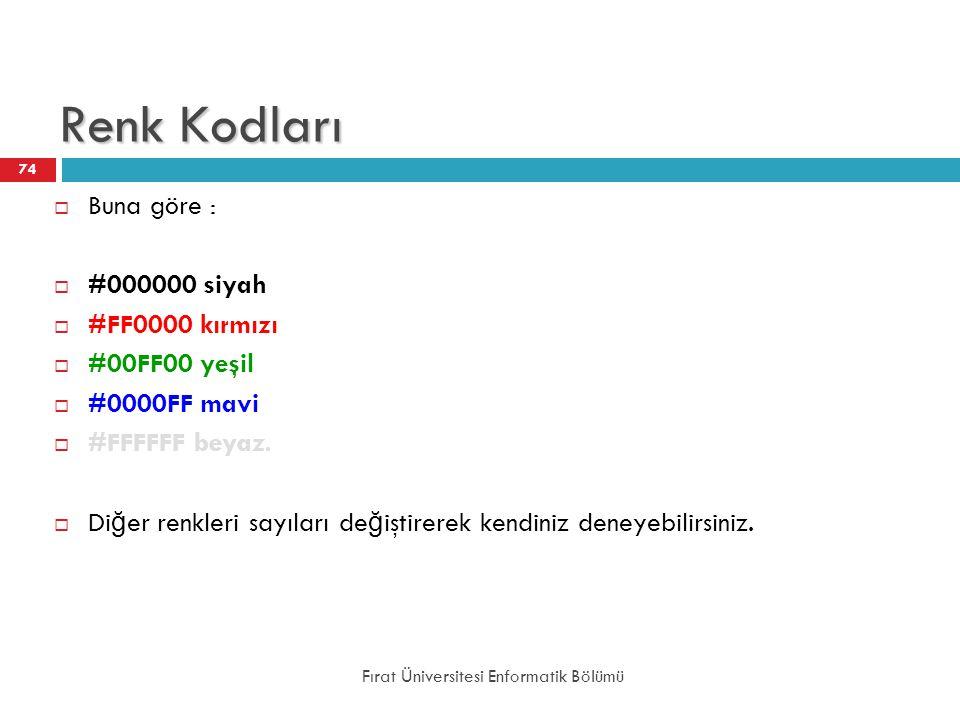 Renk Kodları Buna göre : #000000 siyah #FF0000 kırmızı #00FF00 yeşil