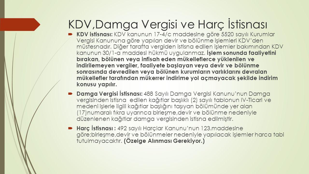 KDV,Damga Vergisi ve Harç İstisnası