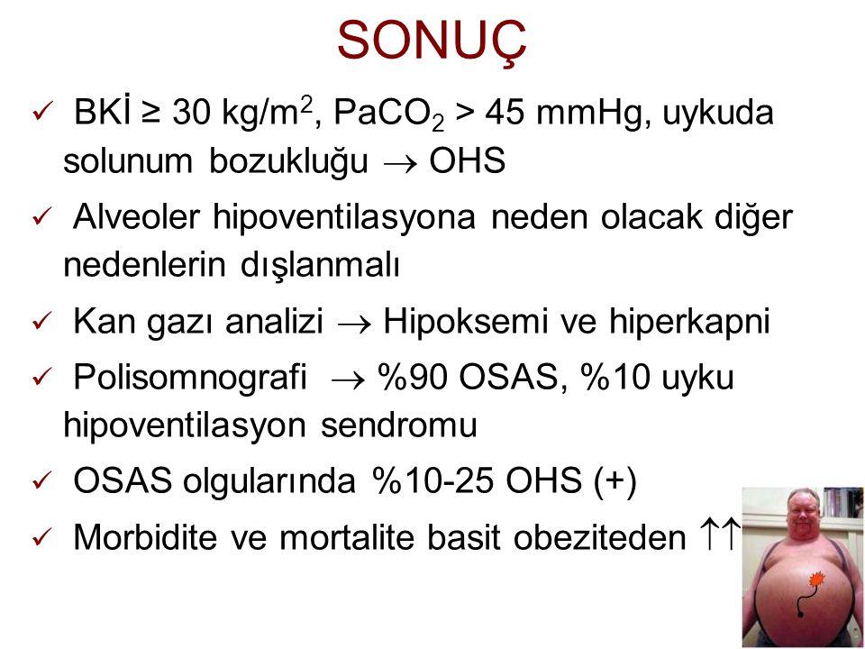 SONUÇ BKİ ≥ 30 kg/m2, PaCO2 > 45 mmHg, uykuda solunum bozukluğu  OHS. Alveoler hipoventilasyona neden olacak diğer nedenlerin dışlanmalı.
