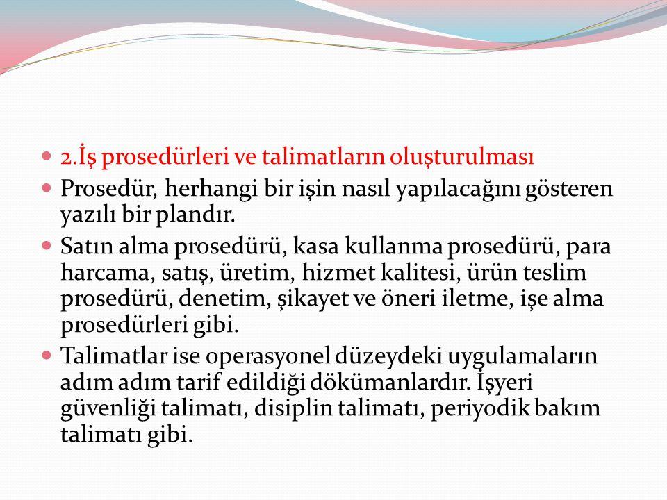 2.İş prosedürleri ve talimatların oluşturulması