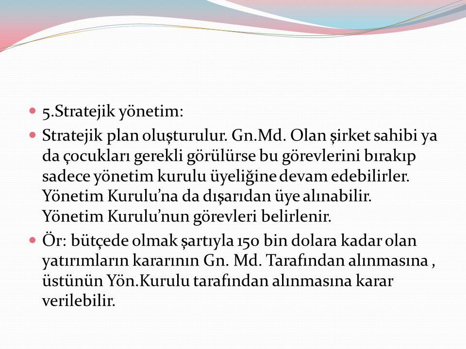 5.Stratejik yönetim: