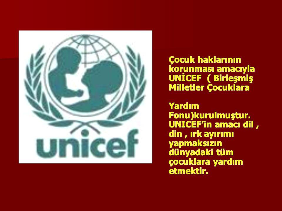 Çocuk haklarının korunması amacıyla UNİCEF ( Birleşmiş Milletler Çocuklara