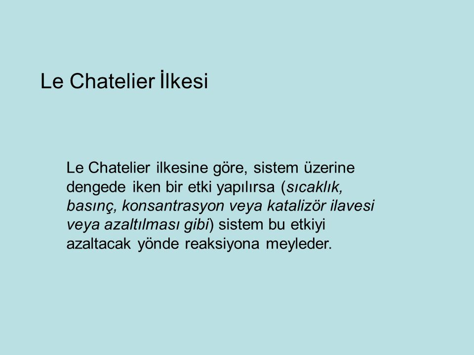 Le Chatelier İlkesi