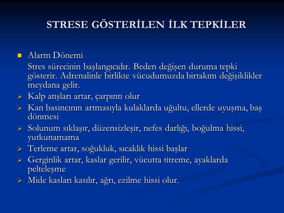STRESE GÖSTERİLEN İLK TEPKİLER