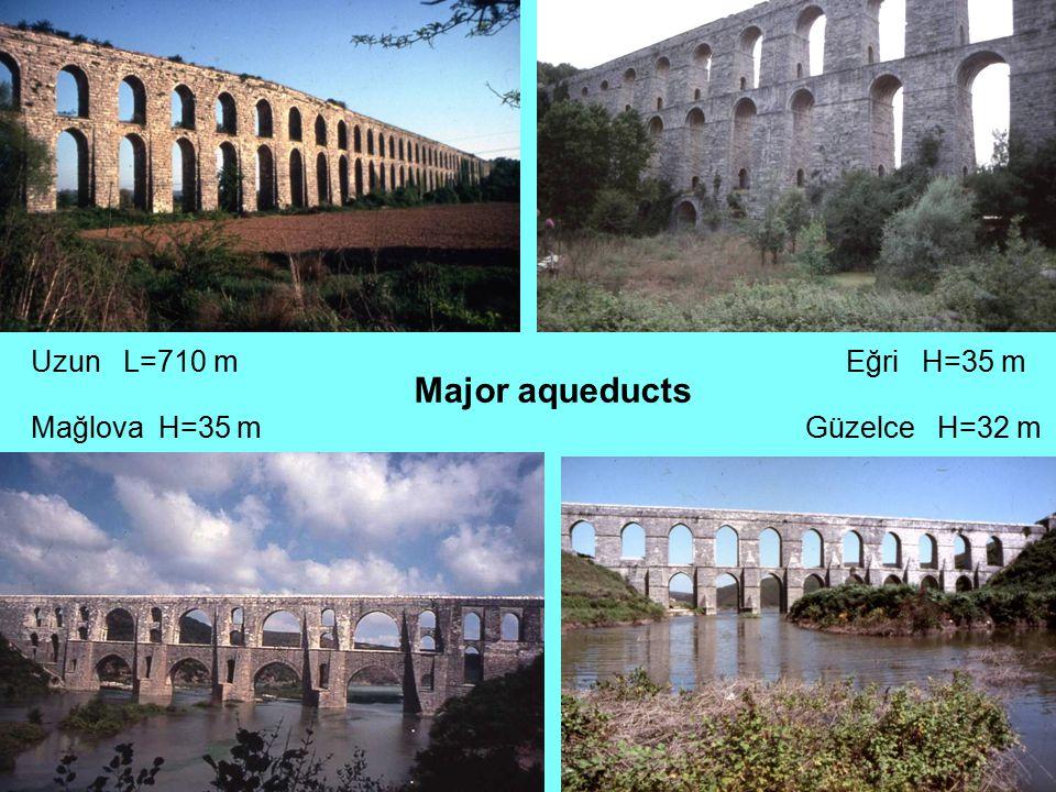 Uzun L=710 m Eğri H=35 m Major aqueducts Mağlova H=35 m Güzelce H=32 m