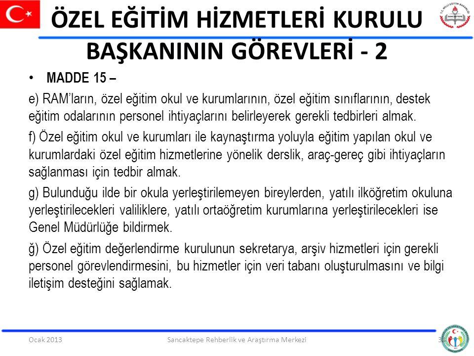 ÖZEL EĞİTİM HİZMETLERİ KURULU BAŞKANININ GÖREVLERİ - 2