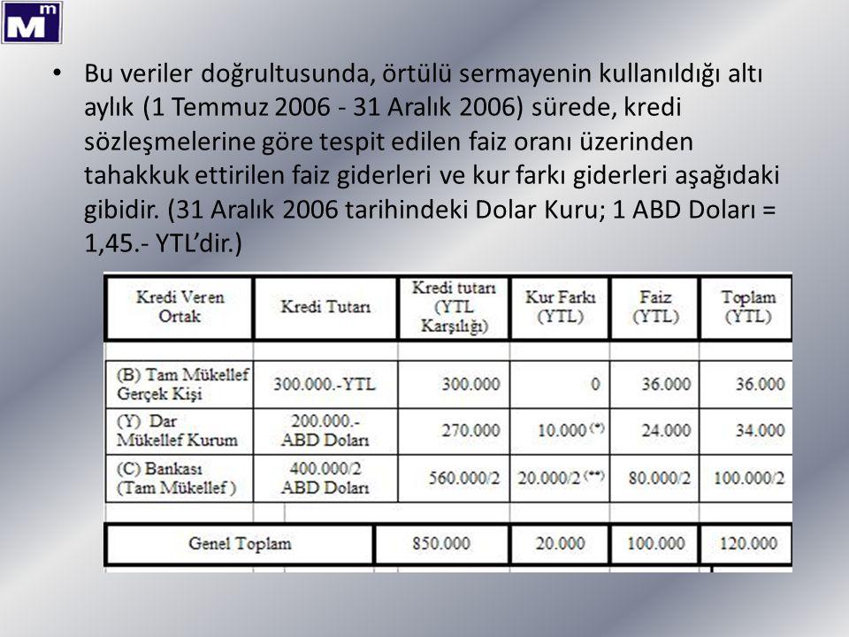 Bu veriler doğrultusunda, örtülü sermayenin kullanıldığı altı aylık (1 Temmuz 2006 - 31 Aralık 2006) sürede, kredi sözleşmelerine göre tespit edilen faiz oranı üzerinden tahakkuk ettirilen faiz giderleri ve kur farkı giderleri aşağıdaki gibidir.