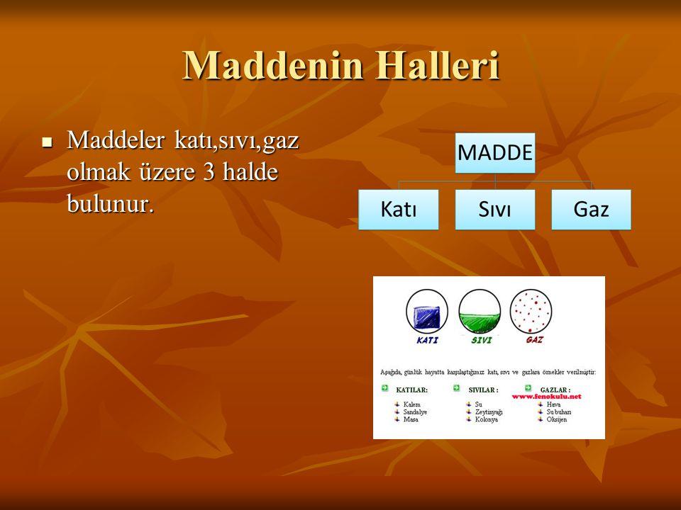 Maddenin Halleri Maddeler katı,sıvı,gaz olmak üzere 3 halde bulunur.