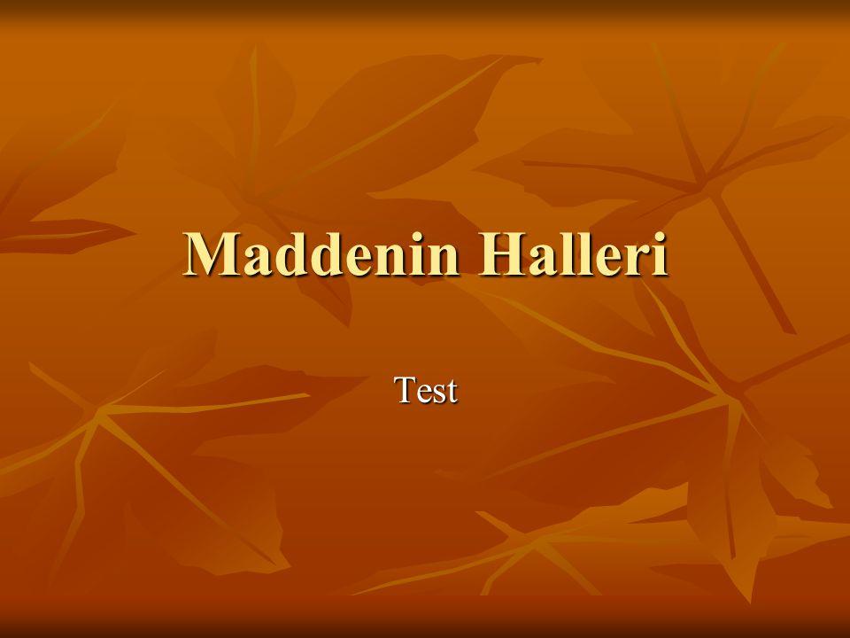 Maddenin Halleri Test