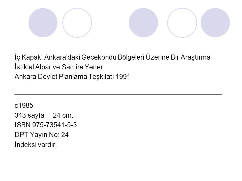 İç Kapak: Ankara'daki Gecekondu Bölgeleri Üzerine Bir Araştırma