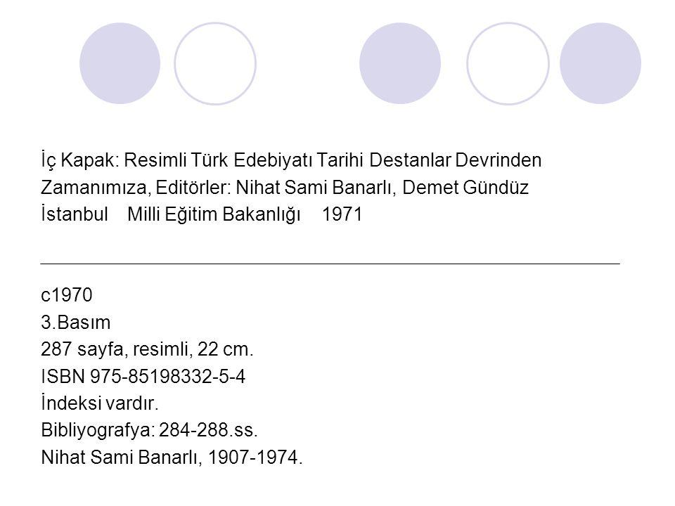 İç Kapak: Resimli Türk Edebiyatı Tarihi Destanlar Devrinden