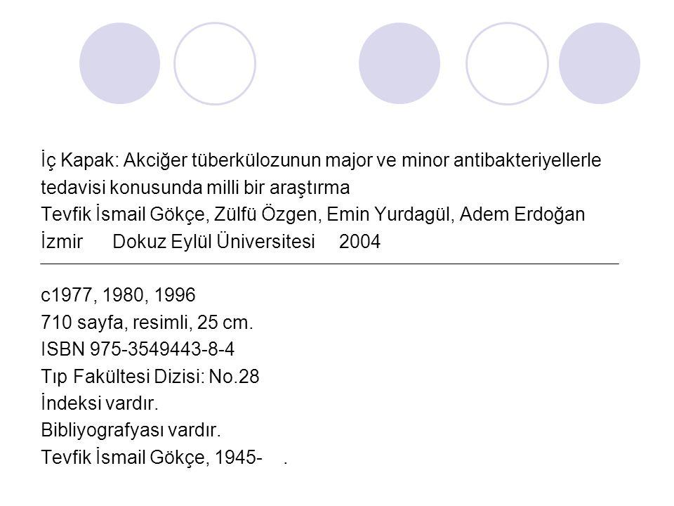İç Kapak: Akciğer tüberkülozunun major ve minor antibakteriyellerle