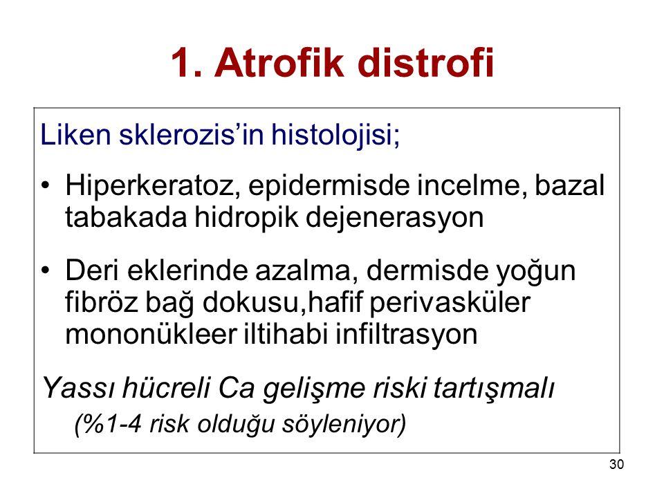1. Atrofik distrofi Liken sklerozis'in histolojisi;