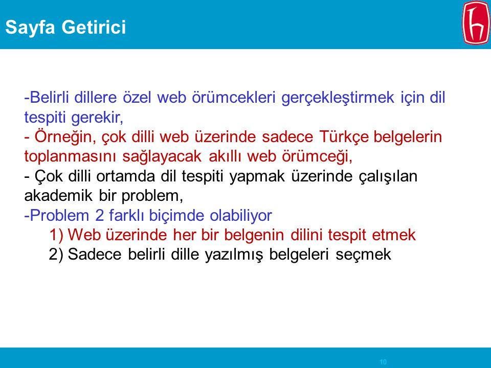 Sayfa Getirici Belirli dillere özel web örümcekleri gerçekleştirmek için dil tespiti gerekir,