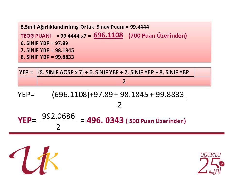YEP= = 496. 0343 ( 500 Puan Üzerinden) YEP=