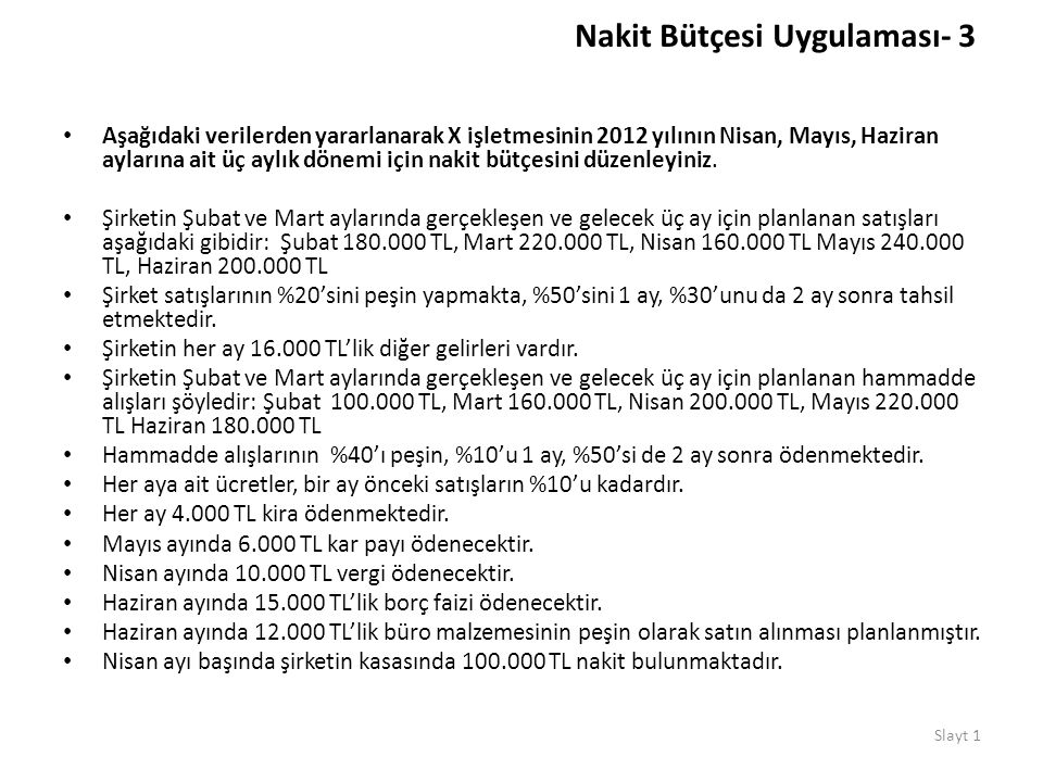 Nakit Bütçesi Uygulaması- 3