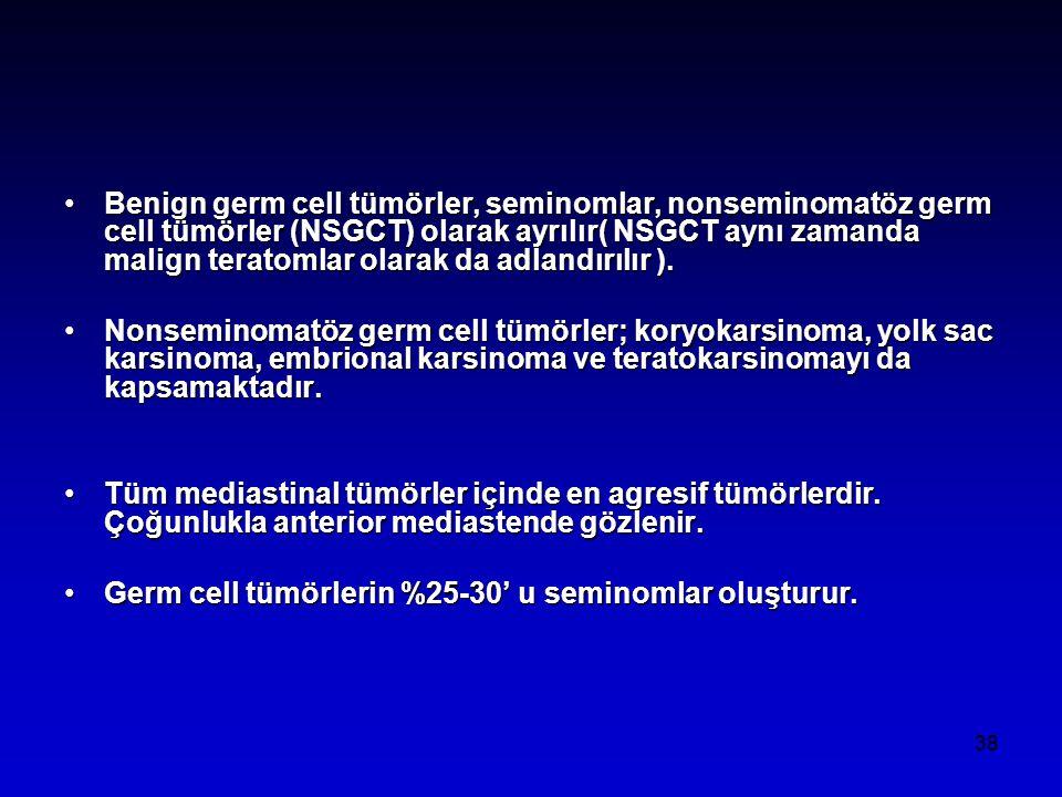 Benign germ cell tümörler, seminomlar, nonseminomatöz germ cell tümörler (NSGCT) olarak ayrılır( NSGCT aynı zamanda malign teratomlar olarak da adlandırılır ).