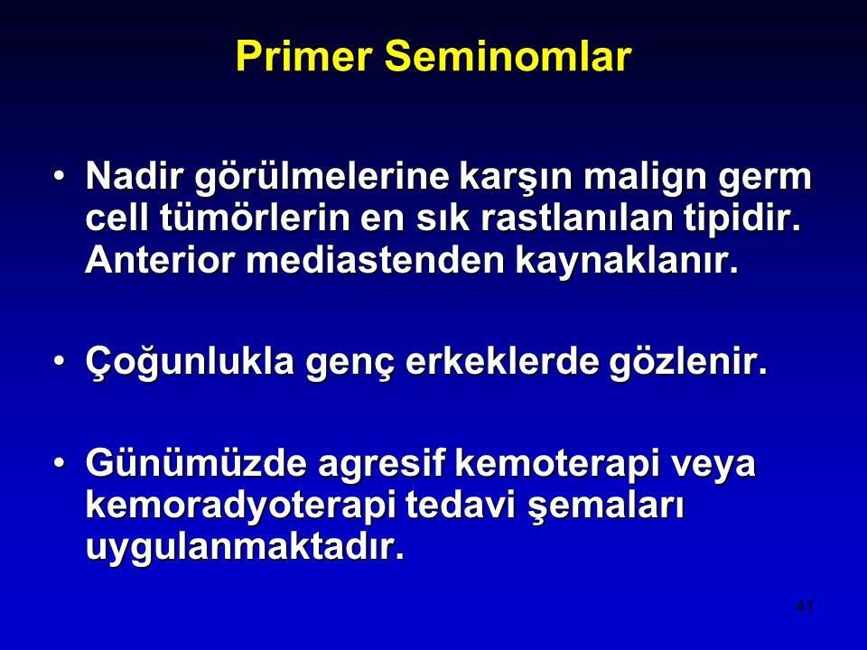 Primer Seminomlar Nadir görülmelerine karşın malign germ cell tümörlerin en sık rastlanılan tipidir. Anterior mediastenden kaynaklanır.