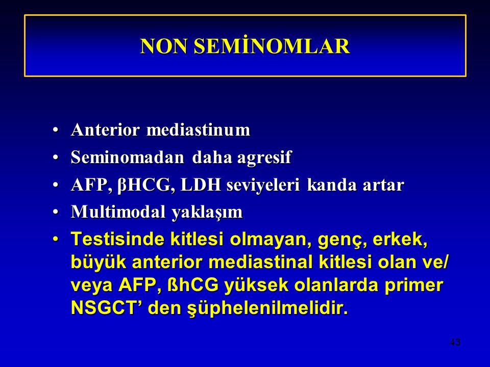 NON SEMİNOMLAR Anterior mediastinum Seminomadan daha agresif