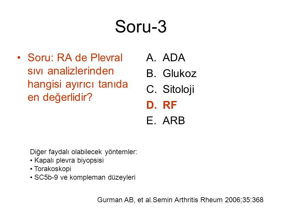 Soru-3 Soru: RA de Plevral sıvı analizlerinden hangisi ayırıcı tanıda en değerlidir ADA. Glukoz.
