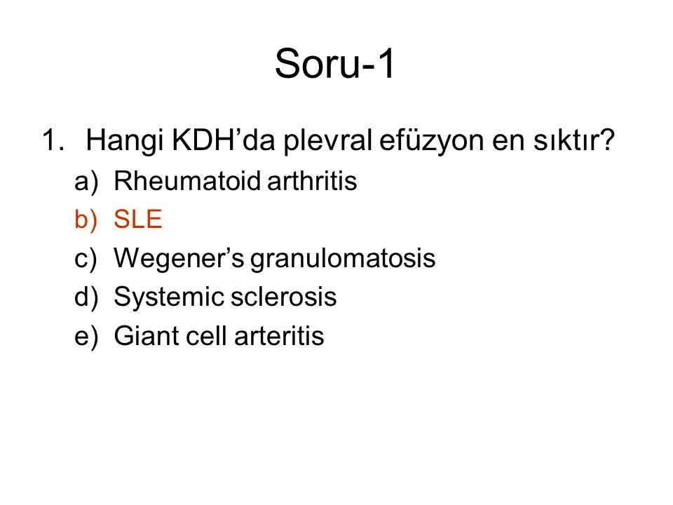 Soru-1 Hangi KDH'da plevral efüzyon en sıktır Rheumatoid arthritis