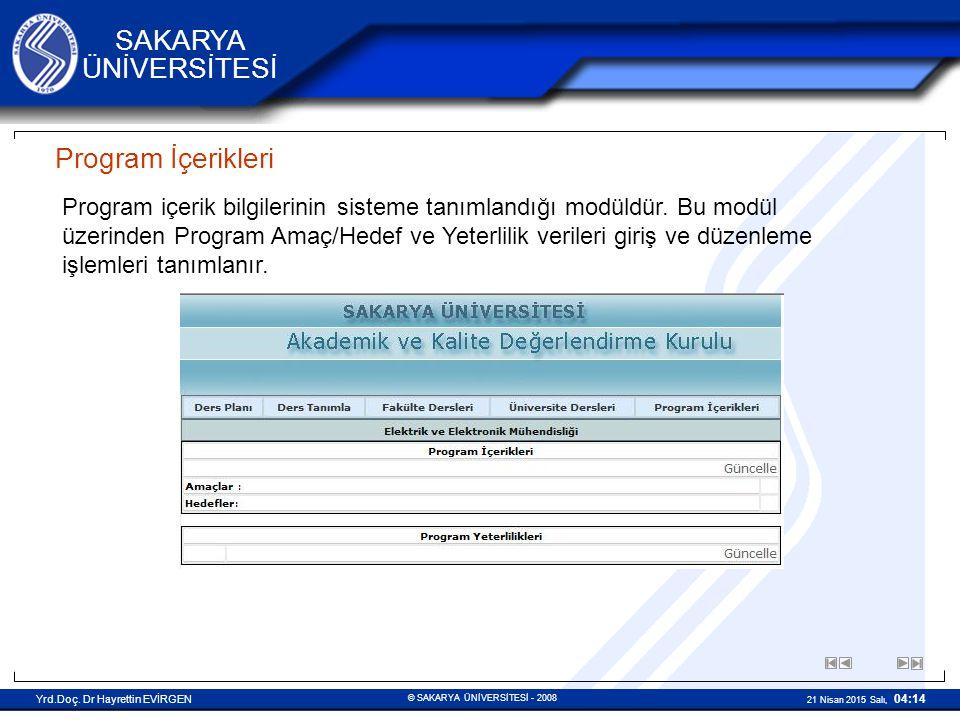 Program İçerikleri
