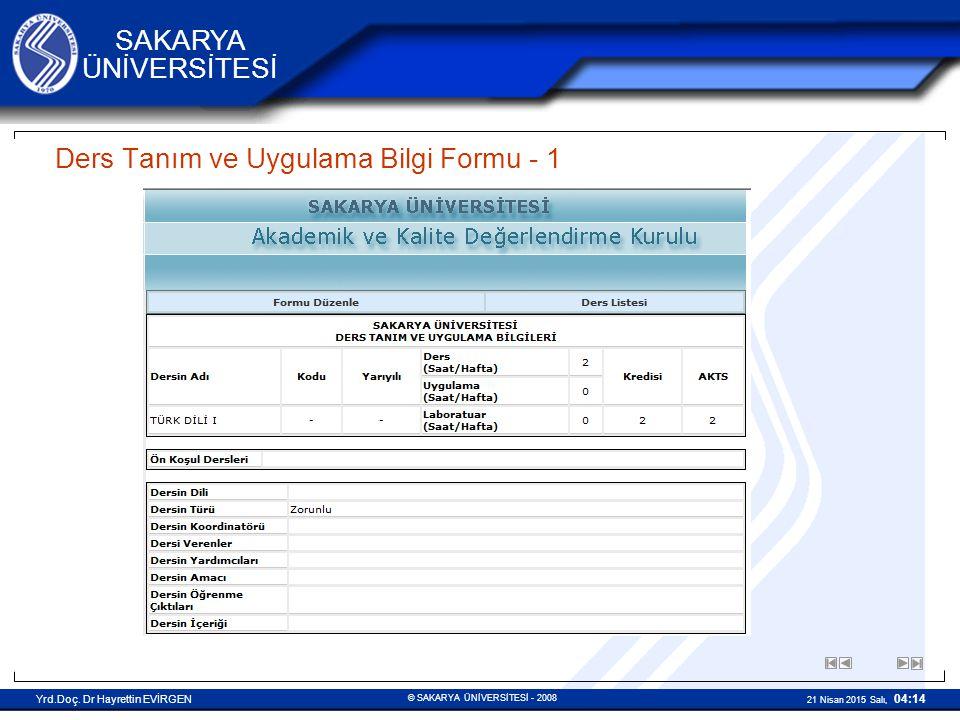Ders Tanım ve Uygulama Bilgi Formu - 1