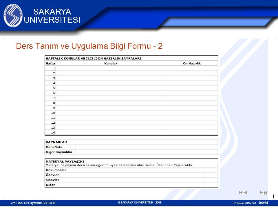Ders Tanım ve Uygulama Bilgi Formu - 2