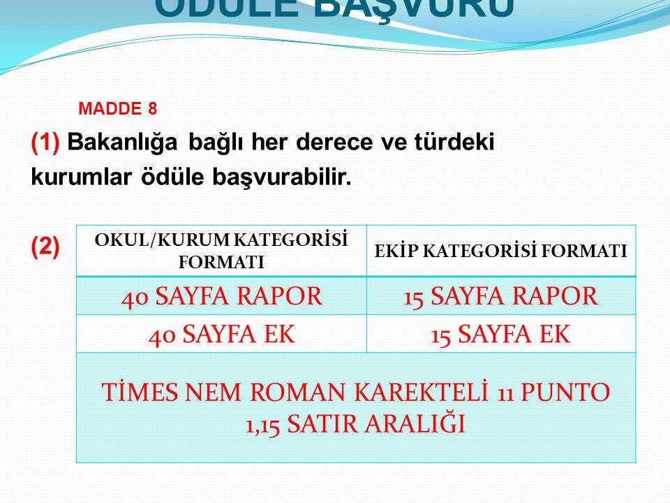 OKUL/KURUM KATEGORİSİ FORMATI EKİP KATEGORİSİ FORMATI