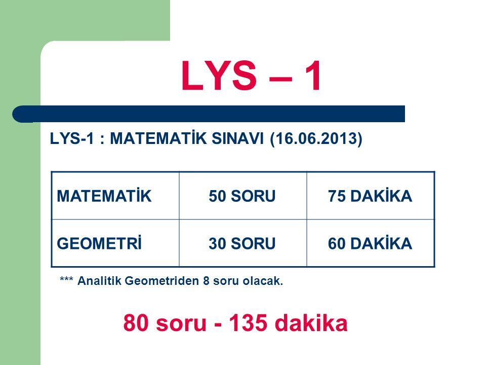 LYS – 1 80 soru - 135 dakika LYS-1 : MATEMATİK SINAVI (16.06.2013)