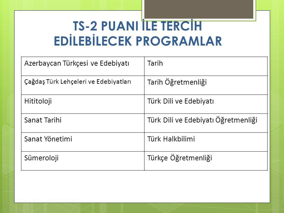 TS-2 PUANI İLE TERCİH EDİLEBİLECEK PROGRAMLAR