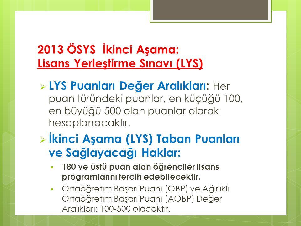 2013 ÖSYS İkinci Aşama: Lisans Yerleştirme Sınavı (LYS)