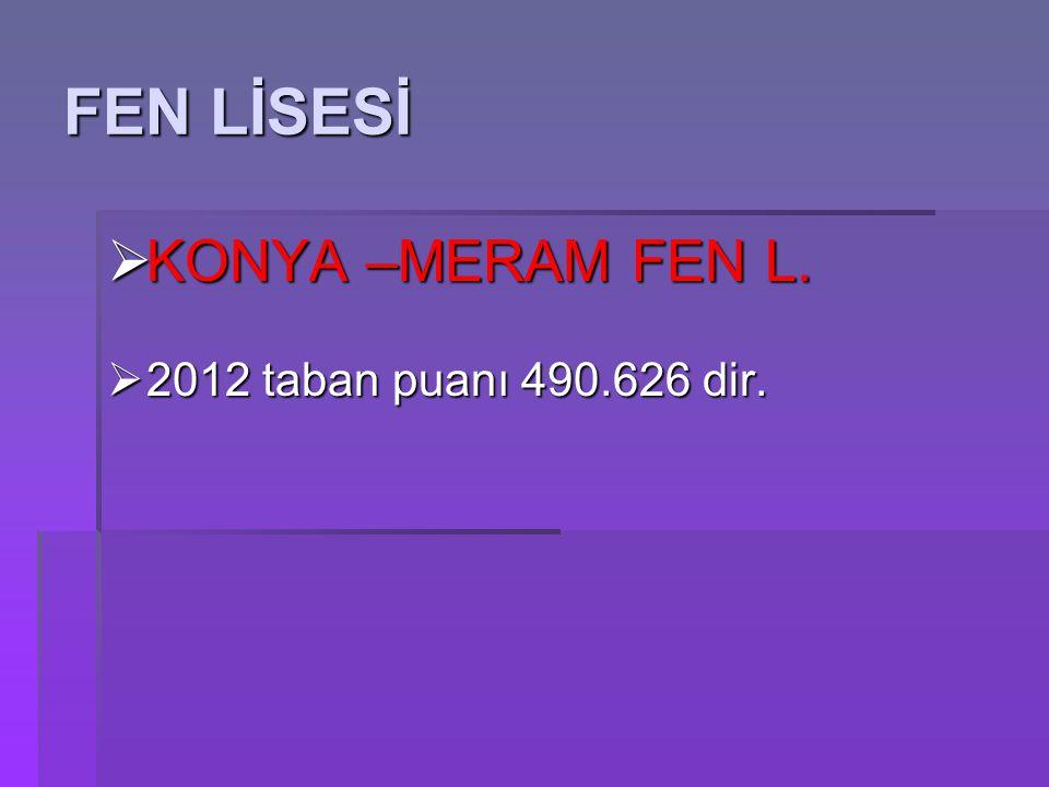 FEN LİSESİ KONYA –MERAM FEN L. 2012 taban puanı 490.626 dir.
