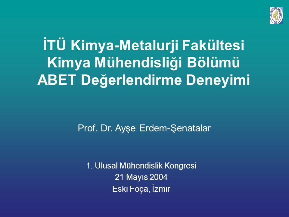 İTÜ Kimya-Metalurji Fakültesi Kimya Mühendisliği Bölümü