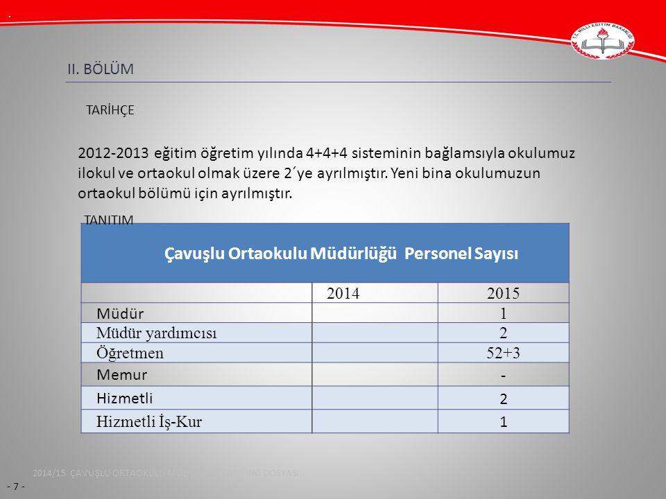 Çavuşlu Ortaokulu Müdürlüğü Personel Sayısı