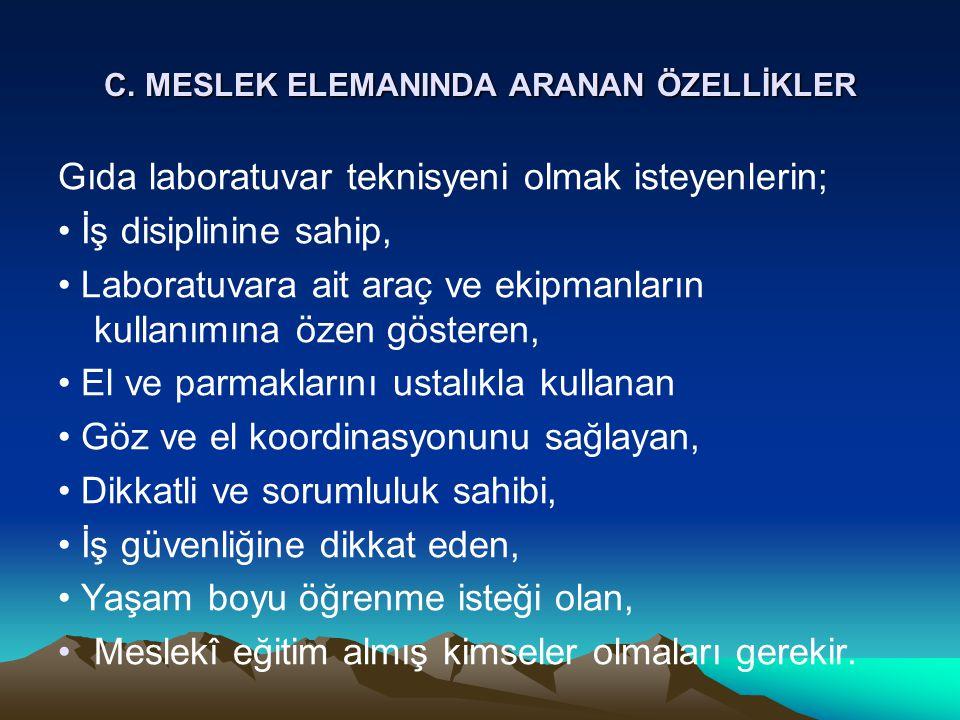 C. MESLEK ELEMANINDA ARANAN ÖZELLİKLER